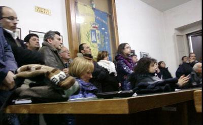 L'aula del Consiglio gremita di partecipanti